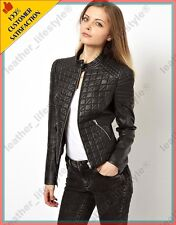 Women's Genuine Lambskin Leather Jacket Brown Slimfit Biker Quilted Jackets 25