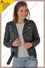Women's Genuine Lambskin Leather Jacket Black Slimfit Biker Motorcycle Jacket 35