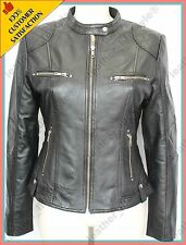 Women's Genuine Lambskin Leather Jacket Black Slimfit Biker Motorcycle Jacket 37