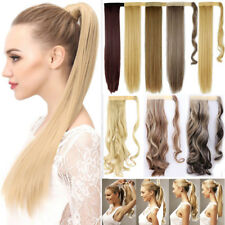 100% Real Thick Clip In Human Remy Hair Extensions Pony Tail Wrap On Ponytail AP