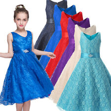 Flowers Girls Dress Kids Birthday Wedding Bridemaid Gown Formal Dresses 0031RU