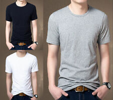 Mens Casual Slim Fit Crew Neck T-Shirts Short Sleeve Muscle Basic Tee Tops 0254U