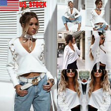 US Women Plain Deep V Crop Top Strappy Blouse Loose Casual Shirt Lace Up T-Shirt