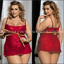 Sexy Plus Size Red Babydoll Underwired Bra Cups Babydoll 2PC G-string Lingerie