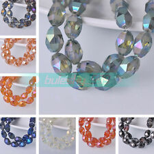 10pcs 9.5X13mm Oval Faceted Crystal Glass Charms Loose Spacer Beads DIY