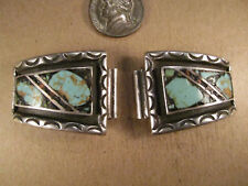 Vtg Heavy Sterling Silver & Turquoise Watch Tips, Unsigned Old Pawn, 35.8g