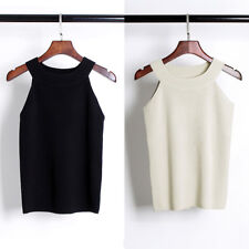 Fashion Women Sleeveless Crop Tank Top Knit Vest Solid Stretch T-shirt Camisole