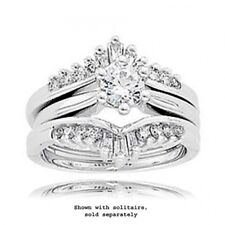 14k White Gold Diamond Tapered Baguette and Round Ring Wrap - 0.43 Cttw