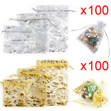 100 Rose Design Organza Gift Bags Jewellery Christmas Packing Pouches Wedding