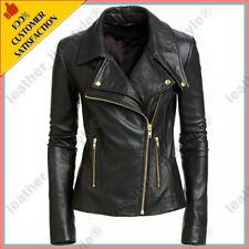 Women's Genuine Lambskin Leather Motorcycle Slim fit Designer Biker Jacket