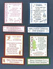 4 GRANDSON /GRAND DAUGHTER Christmas Card Greeting Verse Toppers W/WO Sentiments