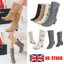 UK Womens Faux Suede Mid Calf High Heel Round Toe Riding Casual Boots Shoes Size