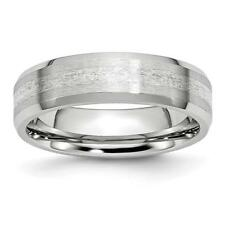 Chisel Cobalt Sterling Silver Inlay Satin/Polished 6mm Beveled Edge Band Ring CC
