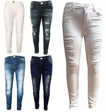 Girls Stretchy Jeans Kids Ripped Skinny pants Denim jeans Jeggings 5-12 Years