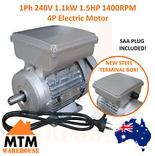 Single Phase Electric Motor 240v 1.1 kW 1.5 HP 1370 rpm 1400rpm 4 Pole