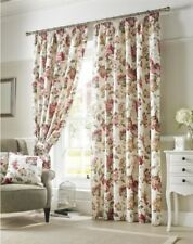 FLOWERS FLORAL RED GREEN CREAM LINED PENCIL PLEAT CURTAINS 9 SIZES