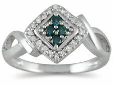 1/5 Carat TW Blue and White Diamond Ring in 10K White Gold