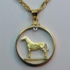 """Irish 20 Pence """"Horse"""" Silver & 24 k Gold Plated 24"""" (cut out) Coin Necklace #3"""