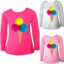 KIDS GIRLS POM POM ICE CREAM CONE SCOOPS PINK YELLOW BLUE T-SHIRT TOPS SIZE 3-14