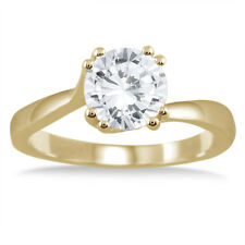 AGS Certified 1 Carat Diamond Solitaire Engagement Ring in 14K Yellow Gold