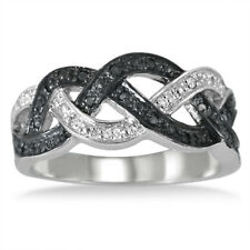 1/6 Carat Black and White Diamond Ring in .925 Sterling Silver