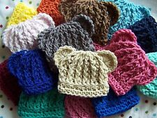SALE ! LOT 10 CROCHET BABY BOY GIRL BEAR HAT MICRO PREEMIE NEWBORN  0 3 MONTHS