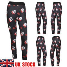 UK Women Skull Print Skinny Leggings Slim Stretch Long Pants Yoga Sport Trousers