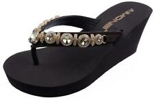 Womens Flip Flops Summer Beach Thongs Sandals Rhinestones Platform Wedges Shoes