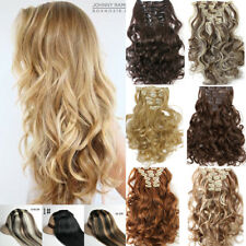 Real Thick AS Human Hair 8 Piece Full Head Clip In Hair Extensions Straight Wavy