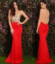 Gold Red Lace Spaghetti Strap Plunge V Neck Open Back Ruched Maxi Dress NWT