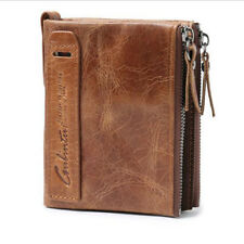 High Capacity Mens Genuine Leather Cowhide Wallet Bifold Coin Purse Card Holder