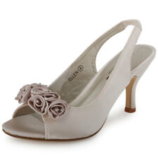 WOMENS NEW SATIN ROSE DIAMANTE PEEP TOE LADIES WEDDING BRIDAL SHOES SIZE 3-8 UK