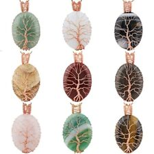 Oval Gemstone Crystal Tree of Life Wire Wrap Reiki Handmade Pendant Fit Necklace