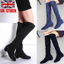 UK Womens Suede Over Knee Stretch Boots Low Block Heel Winter Casual Shoes Size