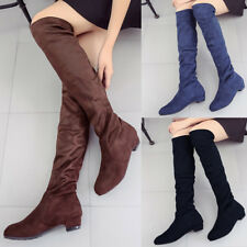 Women Over The Knee Stretch Boots Ladies Low Block Heel Winter Warm Shoes Size