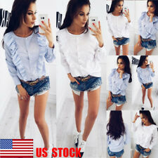 US Womens Ruffle Button Down Shirt Long Sleeve Striped Frill Tops Casual Blouse