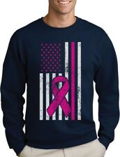Breast Cancer Awareness USA Flag Pink Ribbon Support Sweatshirt Fight