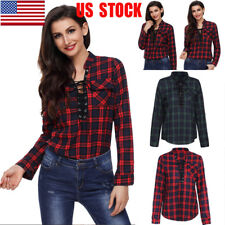 US Women Lace Up V Neck Plaid Shirt Casual T-Shirt Long Sleeve Top Autumn Blouse