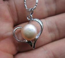 """BEAUTIFUL 9-10mm NATURAL SOUTH SEA  PINK  PEARL PENDANT WHITE NECKLACE 17""""-18"""