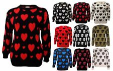 Womens Ladies Knitted Warm Hearts Skulls Pattern Jumper Sweater PLUS SIZES 16-26