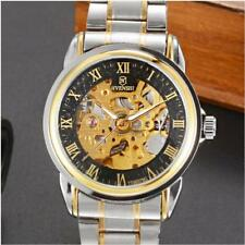 New Skeleton Analog Mens Mechanical Automatic Wristwatches Steel Band Watch