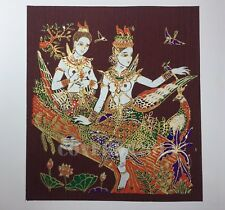 VTG Kinnaree Twin Oriental Painting on Silk Made in Thailand