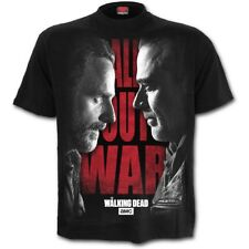 OFFICIAL ALL OUT WAR The Walking Dead Black T-Shirt/Rick and Negan/Spiral/Top