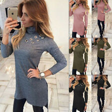 Fashion Slim Long T-shirt New Womens Bodycon Sexy Long Sleeve High-Necked