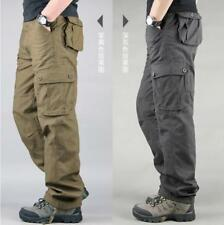 Mens Casual Overalls Loose Straight Cargo Pants Casual Baggy Work Trousers NEW