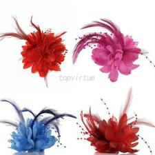 1Pcs Flower Feather Corsage Hair Clips Wedding Party Bridal Hairband Brooch Pin