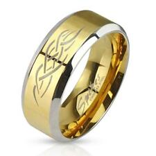 "Stainless Steel Unisex Ring Gold/Silver "" Tribal Inlay NEW - Jewelry"