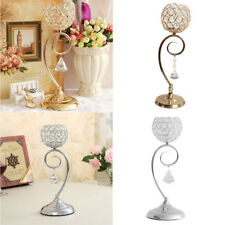 Globe Pillar Crystal Candle Tea Light Holder Wedding Centerpiece Golden/Silver