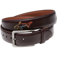 Greg Norman Mens Leather Belt W/Shark Buckle