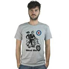 T-shirt Mod life, T-shirt grey with drawing vespa vintage and target Mods UK